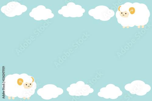 羊と雲のフレーム 長方形 水色 Fototapete