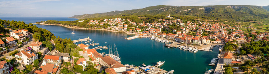 Panoramic aerial view of Jelsa, Croatia.