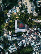 Aerial View Of A Basketball Court In A School At Cheung Chau Island