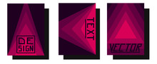 Set Of Rose Geometric Banners Cards For Buisnesses . Vector