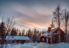 HDR Image Of Nacreous Clouds Over Typical Swedish Buildings