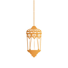 Hanging Gold Lantern Design Of Bohemic Ornament Indian Decoration Retro Vintage Meditation Henna Ethnic Arabic Texture And Tribal Theme Vector Illustration