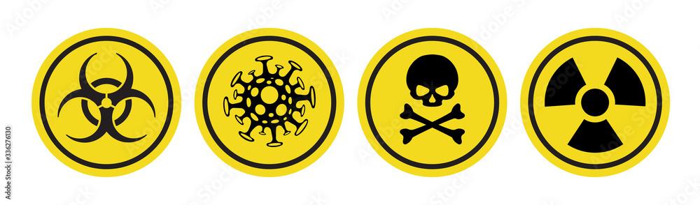 Fototapeta Coronavirus vector icon, Bio hazard symbol, Radiation sign, Toxic emblem isolated on white background. Danger warning circle yellow sign. 10 eps