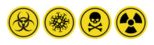 Coronavirus Vector Icon, Bio Hazard Symbol, Radiation Sign, Toxic Emblem Isolated On White Background. Danger Warning Circle Yellow Sign. 10 Eps