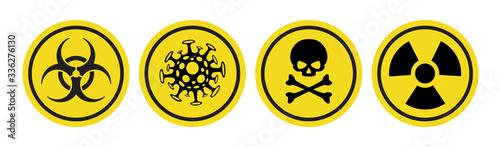Fototapeta Coronavirus vector icon, Bio hazard symbol, Radiation sign, Toxic emblem isolated on white background. Danger warning circle yellow sign. 10 eps obraz