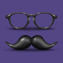Man Glass And Mustache On Purp...