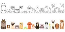 Cute Cartoon Pet Animals Borde...