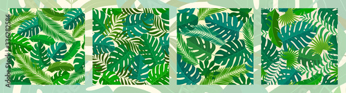 4 tropical seamless natural patterns of exotic leaves.
