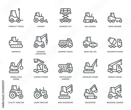 Fototapeta Industrial Vehicles Icons. obraz