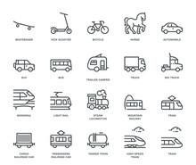 Land Transport Icons Set