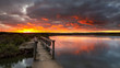 Sunrise over the small foot bridge located on the Onkaparinga River in Port Noarlunga South Australia on 30th March 2020