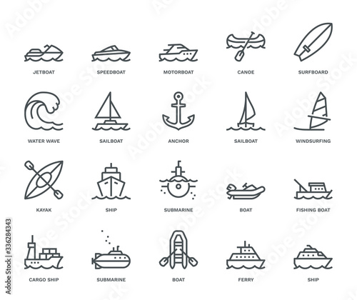 Photo Water Transport Icons.