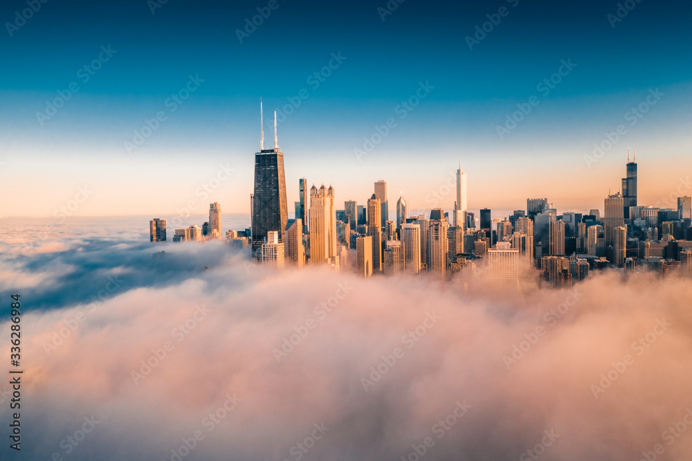 Fototapeta Chicago Cityscape Covered in Fog