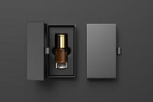 Blank Oud Bottle With Hard Paper Box For Branding. 3d Render Illustration.