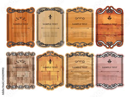 Obraz na plátně 飾り枠 飾り罫 フレーム 木の板