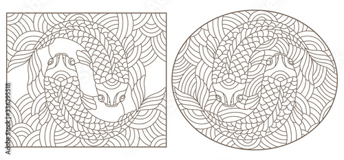 Photo Set contour illustrations of stained glass with abstract fishes , black contour