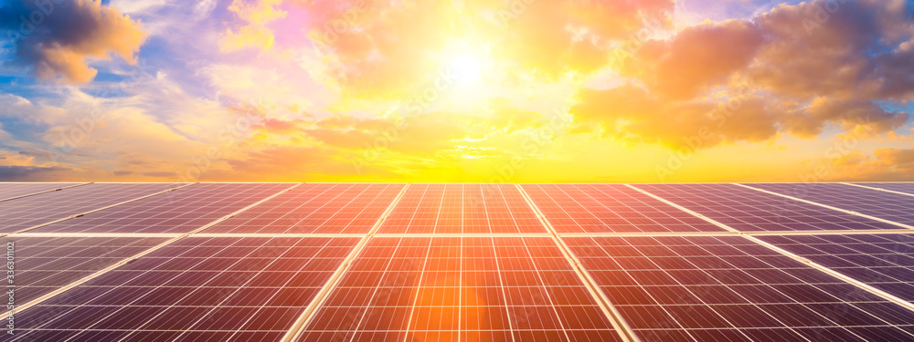 Obraz Photovoltaic solar panels on sunset sky background,green clean energy concept. fototapeta, plakat