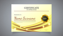 Certificate Of Appreciation For For Achievement Graduation Completion. Vector