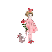 Little Girl In Vintage Style Holds Toy Bear And Rose.