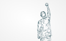 Raise The Arm Of The Person, Meaning To Tide Over The Difficulties, Vector Illustration.