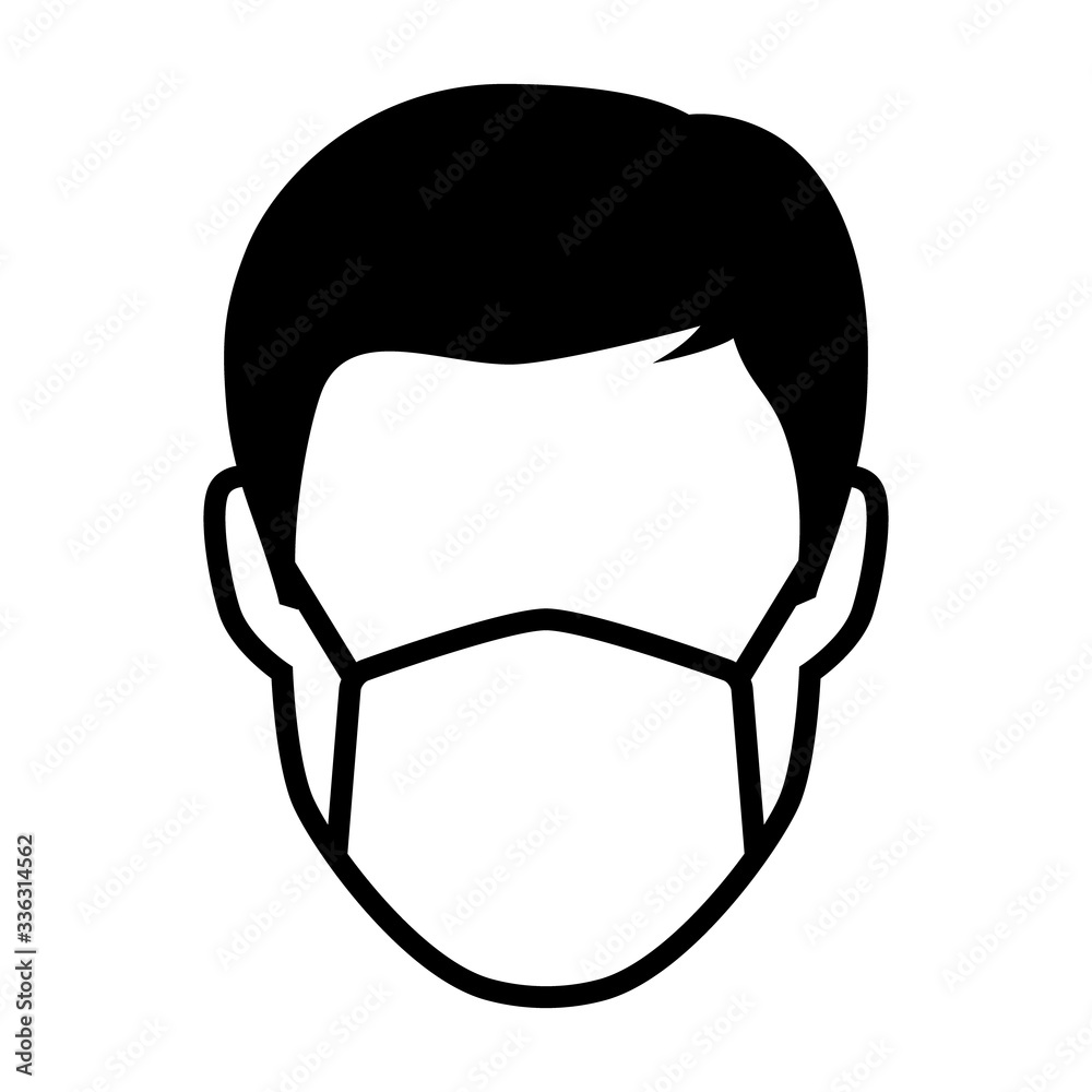 Fototapeta Simple face mask or surgical mask flat vector icon for medical apps and websites