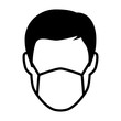 Simple face mask or surgical mask flat vector icon for medical apps and websites