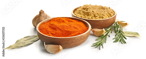 Fotografie, Obraz Different spices on white background