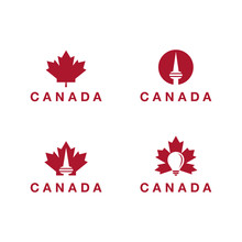 Canada Logo Theme Collection, Toronto Tower Logo, Lighting Bulb Logo