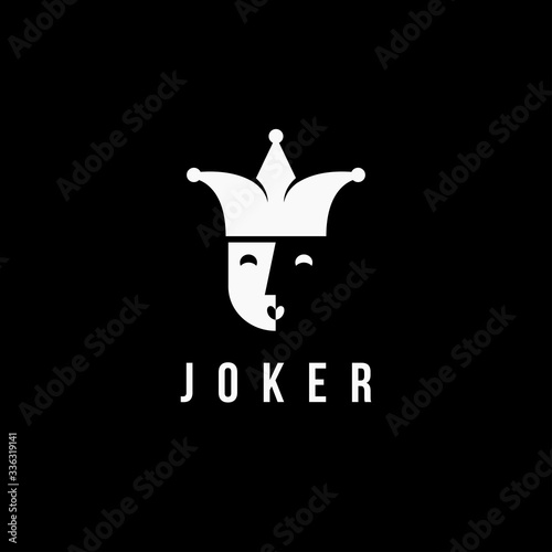 minimalist Joker / jester logo icon Canvas Print