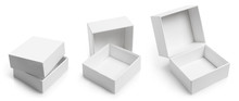 Collection Of White Empty Carton Boxes, Isolated On White Background