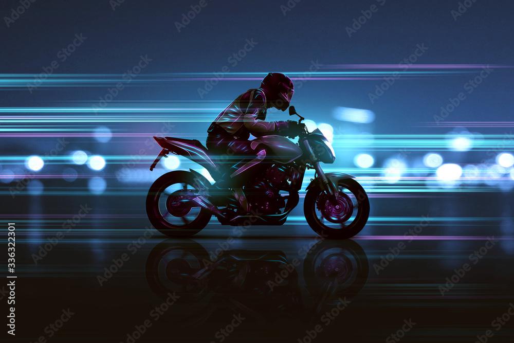 Fototapeta Motorrad mit futuristischen Lichteffekten