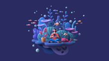 Young Woman In Headphones Learning Online With Tablet At Home. Brunette Girl Enjoys Listening To Music From Mobile Phone Deep Underwater With Cat, Fish, Algae, Coral Reefs. 3d Render On Blue Backdrop