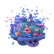 Young Woman In Headphones Learning Online With Tablet At Home. Girl Enjoys Listening To Music From Mobile Phone Deep Underwater With Cat, Fish, Algae, Coral Reefs. 3d Render Isolated On White Backdrop