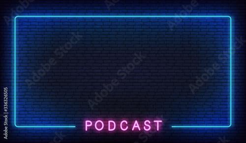 Podcast neon background Wallpaper Mural