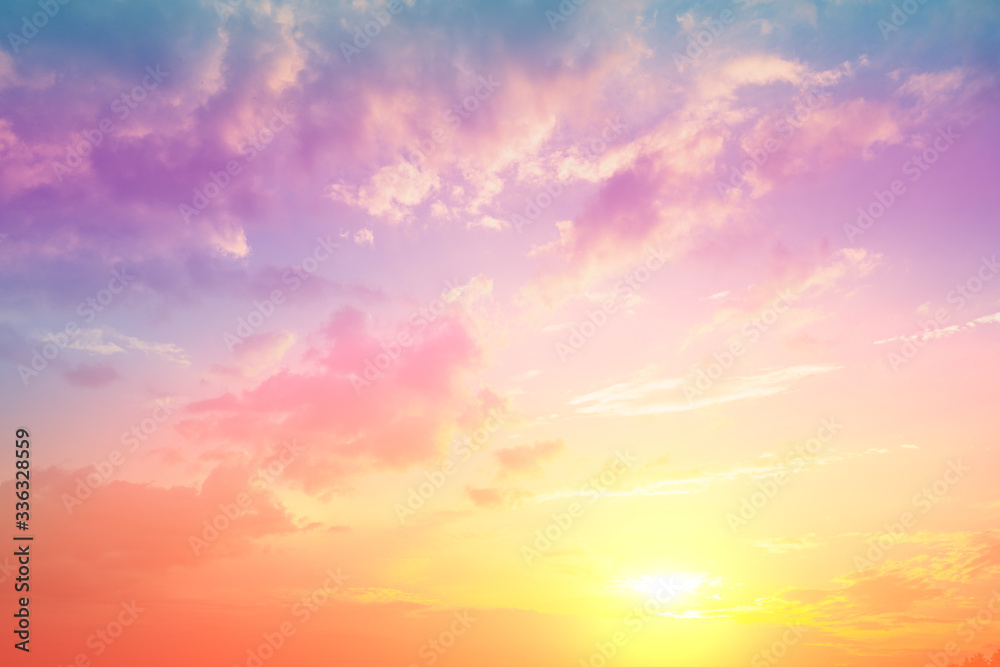Fototapeta Colorful cloudy sky at sunset. Gradient color. Sky texture, abstract nature background