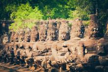 Stone Carved Warriors At Angko...