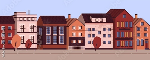 Colorful cityscape with modern residential buildings. Suburban area horizontal panoramic banner. Urban street landscape with living houses facades. Vector illustration in flat cartoon style