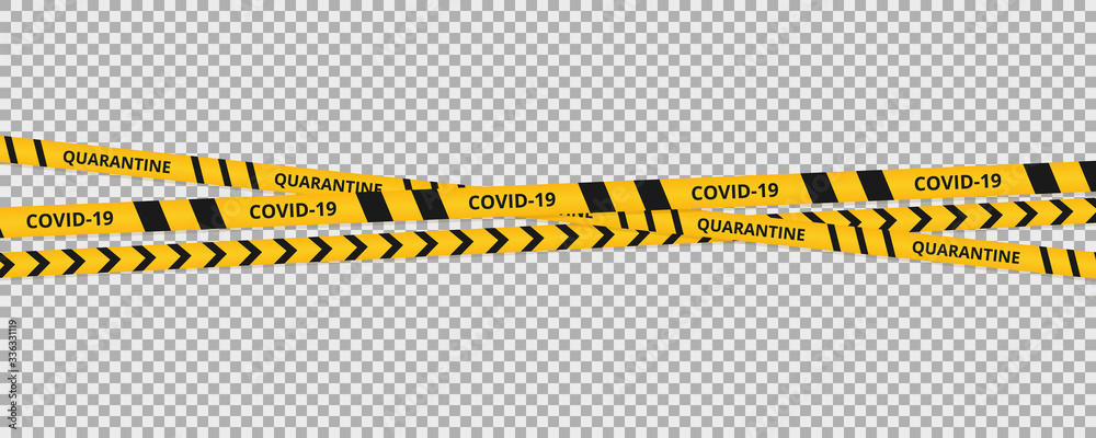Fototapeta Coronavirus background of quarantine tape border. Warning coronavirus quarantine yellow and black stripes.