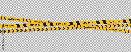 Obraz Coronavirus background of quarantine tape border. Warning coronavirus quarantine yellow and black stripes. - fototapety do salonu