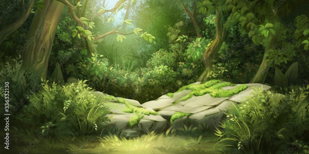 Deep Forest. Fantasy Backdrop. Concept Art. Realistic Illustration. Video Game Digital CG Artwork Background. Nature Scenery.  - obrazy, fototapety, plakaty