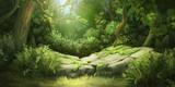 Głęboki las. Tło fantasy. Art Concept. Realistyczna ilustracja. Tło grafiki cyfrowej grafiki komputerowej gry komputerowej. Krajobrazy.