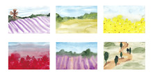 Watercolor Collage Of Summer L...