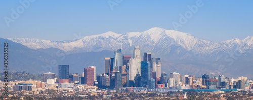 Downtown Los Angeles from Afar with Snowy San Gabriel Mountains - Panorama Wallpaper Mural