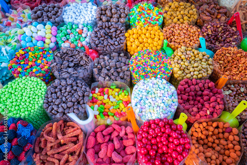 Market stall full of candys