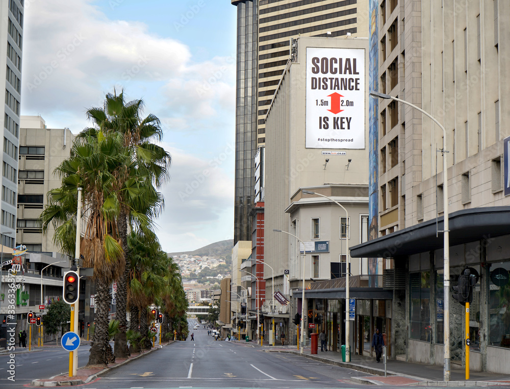 Cape Town, South Africa - 6 April 2020 : Empty streets in Cape Town during the Coronavirus lockdown