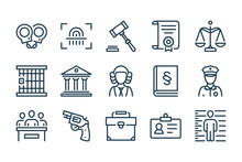 Law And Judgement Line Icons. ...