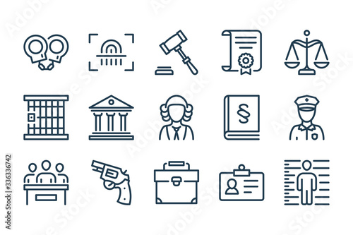Foto Law and Judgement line icons