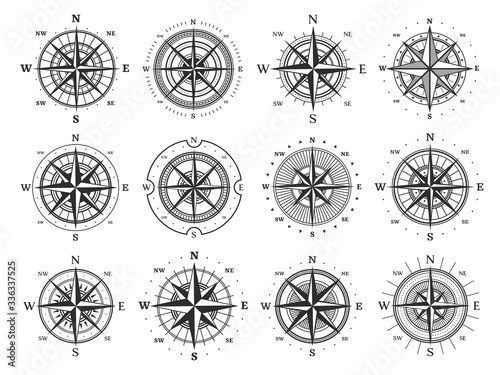Nautical compass wind rose vector icons Canvas Print