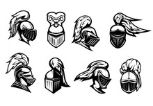 Knight In Helmet Armor, Spartan Warrior Head, Vector Heraldic Icons. Medieval Warrior Knight In Armour Helmet With Visor And Plumage, Heraldry Symbols