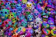 Leinwanddruck Bild - Decorated colorful skulls, ceramics death symbol at market, day of dead, Mexico.